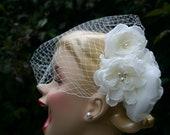 Ivory Birdcage Veil - Birdcage Veil - Russian Netting - Ivory Flower - Wedding Veil - Pearl Flower - modern veil