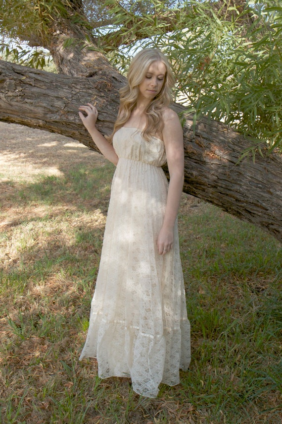 RESERVED FOR JESSE - Vintage Lace Wedding Dresses 1970s Hippie Boho Strapless - Lissie