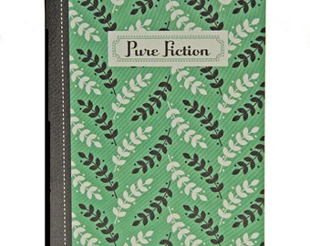 "Leaf Print Jotter, Captioned ""Pure Fiction"", Black, Green, White, Blank Pages"