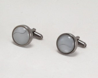 Cuff Links of Faux Blue Moonstone