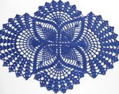 Crochet doily ,dark blue, oval doilies , lace ,home decor