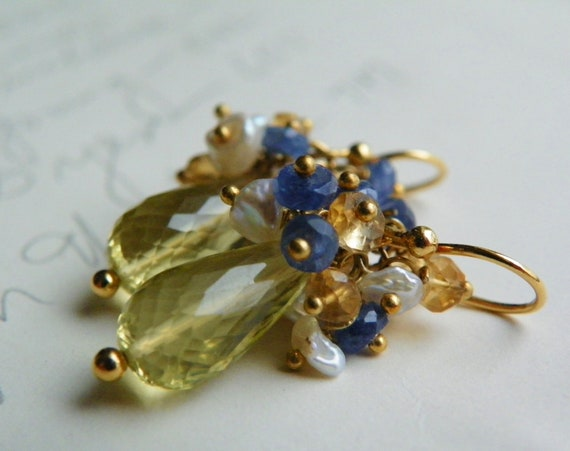 SALE Sapphire Cluster Earrings with Gold. 14k Gold Drop Earrings. Soft Yellow and Blue Jewelry. Gifts for Women.