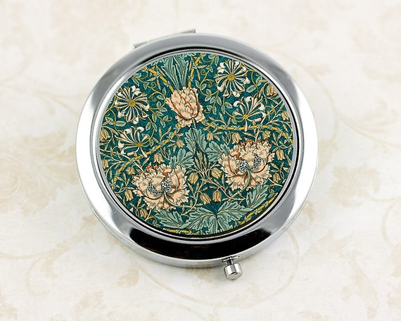 Ladies' Flower Compact Mirror, William Morris Honeysuckle Vintage Floral Pattern, Gifts for Her