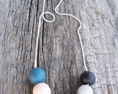 "Orange gray necklace - soft matte colors- fall necklace- geometric round beads "" Round and round"""