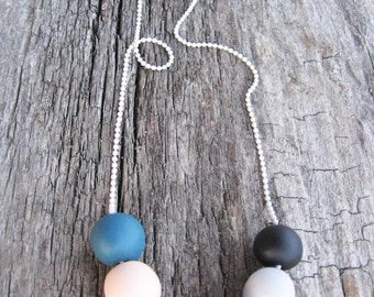 """Orange gray necklace - soft matte colors- fall necklace- geometric round beads """" Round and round"""""""