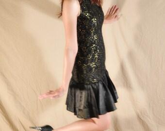Black & Gold Cocktail Frill Dress