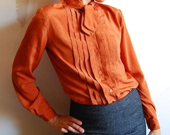 Pumpkin Orange Pleated Front Secretary Shirt S FREE SHIP