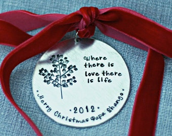 Personalized Christmas Tree Ornament - Personalized Christmas Tree Decoration - Where There Is Love There Is Life - Family Tree Holiday Gift