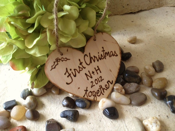 Rustic Christmas First Christmas Together Personalized Christmas Ornament with Carved Initials and Year Rustic Chic Wedding Decoration