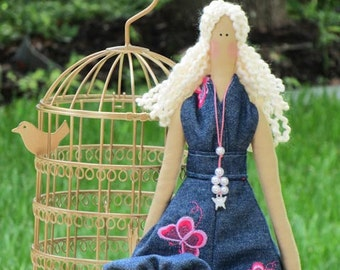 Fabric doll lovely cloth doll blonde stuffed doll handmade rag doll in modern denim clothing gift for girls collectible doll