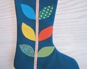 Upcycled Teal felted Wool Modern Applique Chritmas Stocking