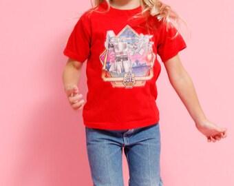 Vintage 80 Kids Go Bots T Shirt - Size 6/8 Juniors Red Tshirt for Girls Boys Juniors