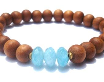 aquamarine & sandalwood mala bracelet