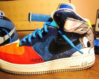 "Hand Painted Nike Air Force 1 Mid ""Space Jam"" Custom Sneakers"