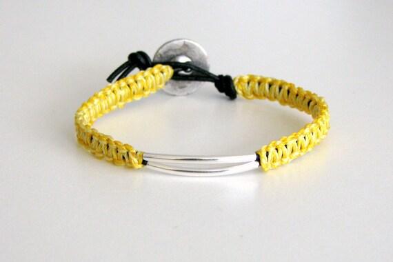 Macrame Bracelet with Silver Tubes - Wai Bracelet