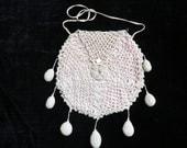 Antique Victorian Crocheted Reticule Purse, Vintage Bridal Purse, Vintage Crochet, Vintage Pouch Purse, Antique Purse, Vintage Handbag