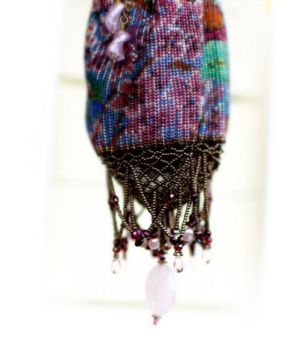 Bridal Purse - OOAK Beadwoven Victorian Panorama of Pink Blossoms & Oriental Red Bridge
