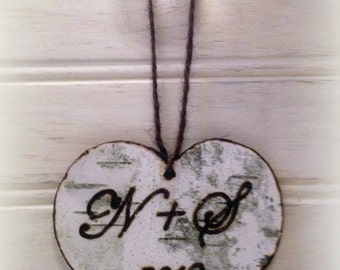 Personalized Our First Christmas Ornament  Rustic Wedding Decor BIRCH BARK HEART Custom