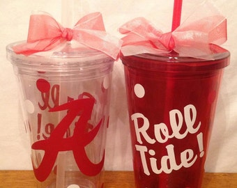 ALABAMA ROLL TIDE 16 oz. Insulated Red or Clear Tumbler with Polka Dots, Lid, Straw & Bow