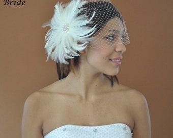 "Bandeau 803 -- VEIL SET w/ PEARL Rhinestone Feather Fascinator Hair Clip & Ivory or White 9"" Birdcage Blusher Veil for bridal wedding"