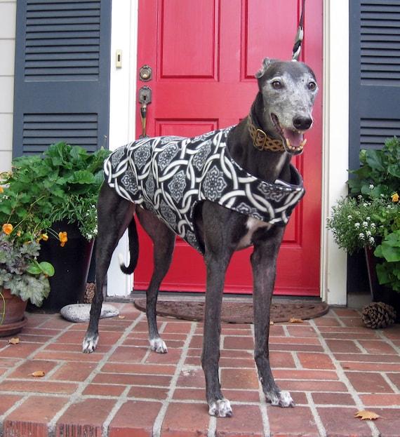 Greyhound Dog Coat, Black & White Celtic Knot Print Fleece with Black Fleece Lining