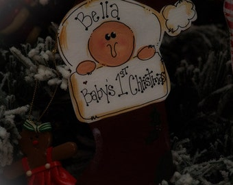 Babys First Christmas Stocking Personalized Name BABY