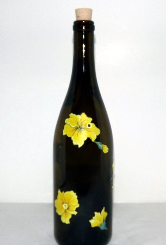 Recycled Yellow Blossom Wine Bottle Incense Burner
