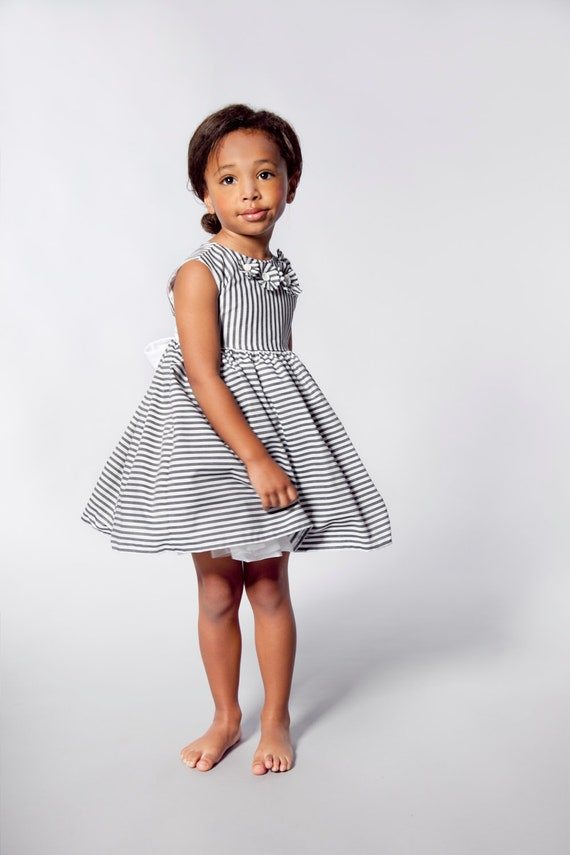 Flower Girls Dress in Grey and White Stripes