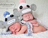 Newborn Twin Boy Girl Sock Monkey Hats Photo Prop Sizes 0-3 Months 3-6 Months 6-12 Months