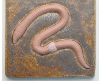 "Earthworm Tile, high fired, glazed stoneware. 5 1/2"" square x 3/4"" thick"