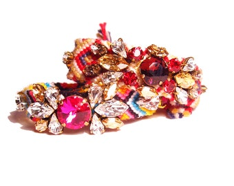 The ORIGINAL Embroidered Statement Rhinestone Friendship Bracelet - Winter Fireworks ( made to order) - Also available in Nude Gold tones