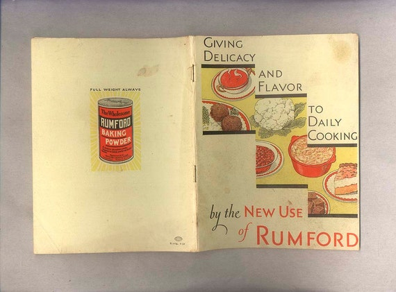 Vintage Cook Book 1931 Art Deco Recipe Booklet Published by Rumford Baking Powder Company