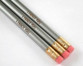 i fancy you pencil set 3 pencils in silver.