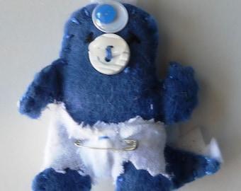 Spike the Baby Monster- Feltie Pin...in dark blue