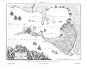 Map Bay of Cádiz Vintage Print,  Reproduction of 1672  Insula Gaditana Vulgo Isla de Cádiz, Black and White