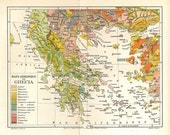 Antique Map of Greece 1920s Physical Map, Geology Map