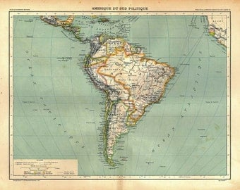 South America Old Map 1889 Political Division