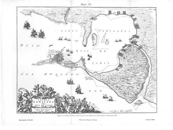 Map Bay of Cádiz Vintage Print,  Reproduction of 1672  Insula Gaditana Vulgo Isla de Cádiz, Black and White