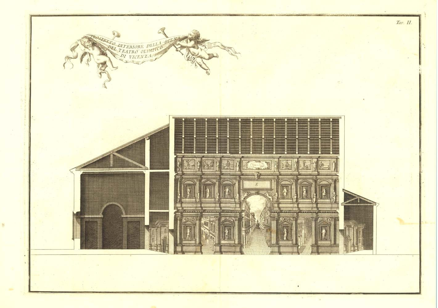 Palladio architecture teatro olimpico vicenza 1760 antique for Architecture antique