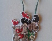 Cute Moose Cross Stitch Christmas Ornament