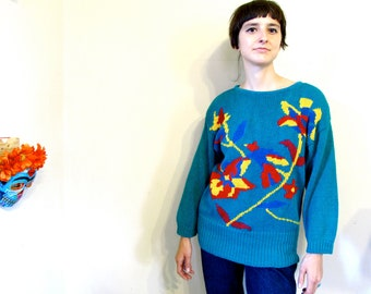 Vintage Sweater . 1980s Teal, Red, and Yellow Floral Cosby Style Sweater.