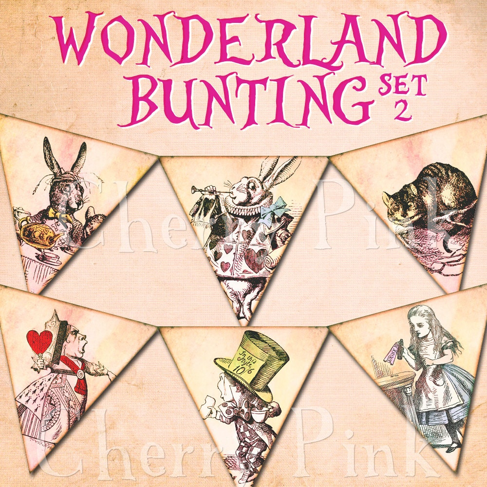 Alice In Wonderland Bunting Set 2 Alice Decoration Printable