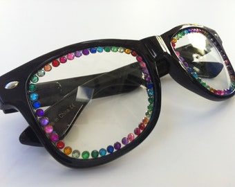 Rave light show glasses- black with rainbow rhinestones