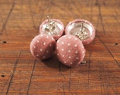 Fabric Covered Button Earrings - Dusty Rose Polka Dots