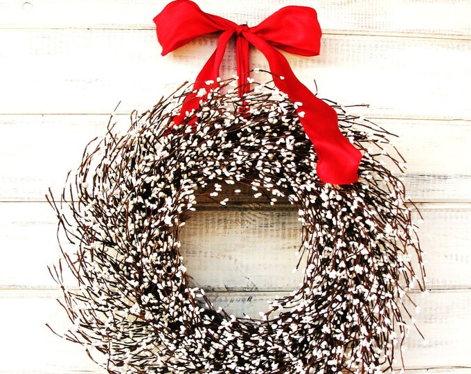 Featured listing image: Christmas Wreath-White Wreath-Winter Wreaths-Holiday Wreath-WHITE WREATH-Winter Home Decor-Scented Wreath-Housewarming Gifts-For Mom