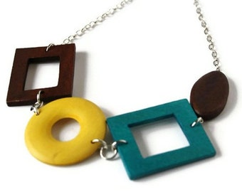 Chunky Wood Necklace- Mustard Yellow Necklace - Fall Fashion - Teal Necklace - Brown Wood Necklace - Fall Outfit - Big Necklace - Statement