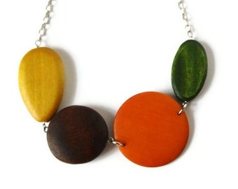 Chunky Wood Necklace - Big Wood Necklace - Mustard Yellow Necklace - Big Chunky Necklace - Orange Chunky Necklace - Statement Necklace - Bib