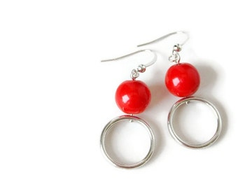 Christmas Earrings - Red Earrings - Geometric Earrings - Simple Earrings - Christmas Jewelry - Christmas outfit - Everyday Jewelry - Gift