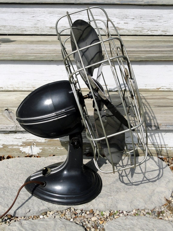vintage robbins myers desk fan large metal gray electric