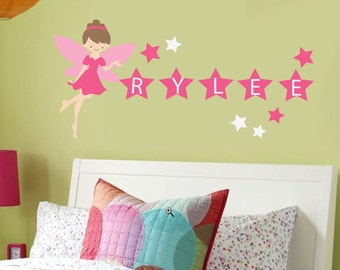Fairy Monogram Wall Decal - REUSABLE WALL DECAL